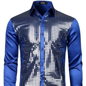 Jogal Disco Shine Royal Blue Holiday Satin Shirt S